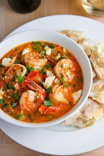 grecka zupa z krewetkami