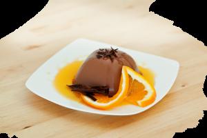 Deser Panna Cotta o smaku czekoladowym i z nutą pomarańcz